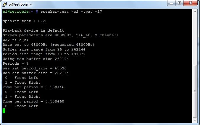 Raspberry Pi Test Sound Output Tinkerboy